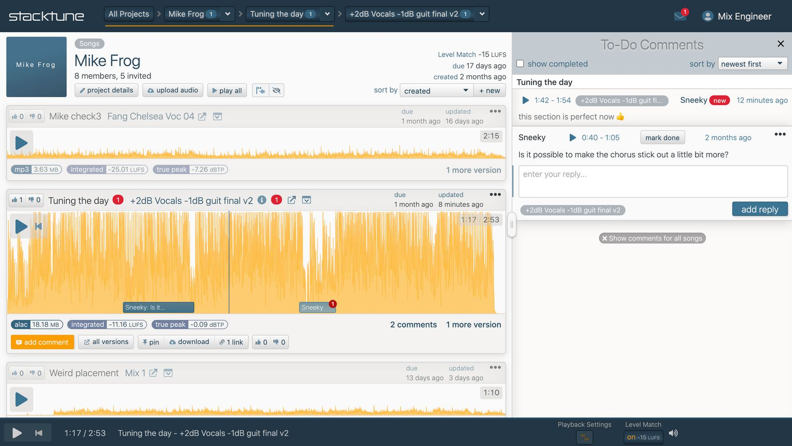 screenshot with audio file and comments