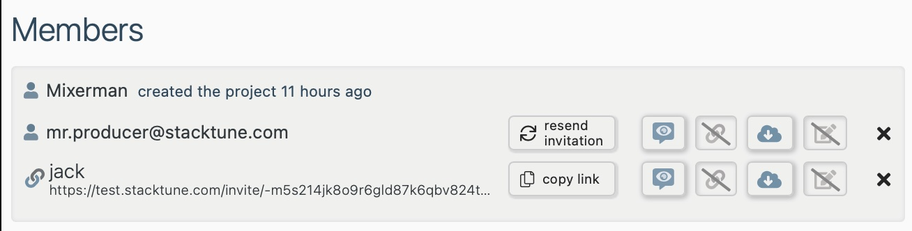 Members section now also contains invite links